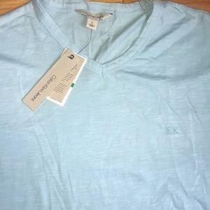 NWT! Calvin Klein V Neck Blue Tee Shirt XL